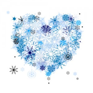 Heart shape of snowflakes